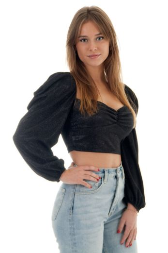 Alaia Sparkle Crop Top Black