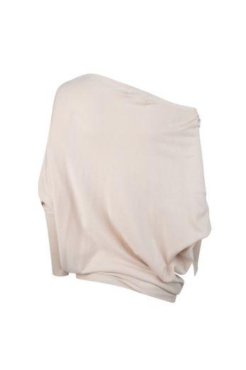 Off-Shoulder Pullover Beige