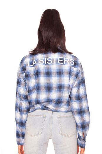 Oversized Check Shirt Blue