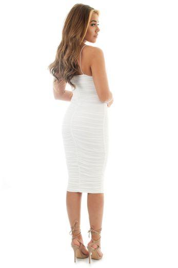 Khloe Ruched Dress White