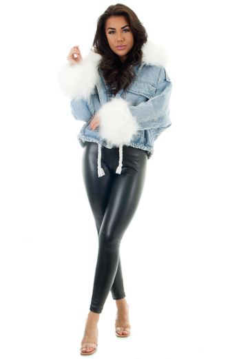 Penelopy Denim Jacket Fur White