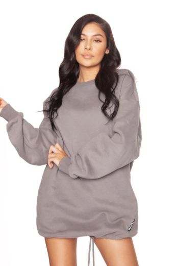 LA Sisters Oversized Sweater Dress Grey Front