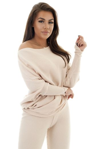 Mila Rib Off-Shoulder Pullover Nude