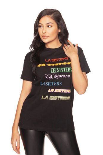 LA Sisters LA Colorful Tee Black Front