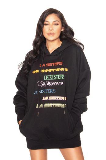 LA Sisters LA Colorful Hoodie Dress Black Front