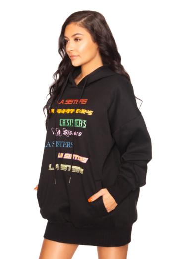 LA Colorful Hoodie Dress Black
