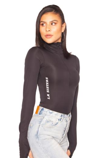Scuba Zipper Bodysuit Black