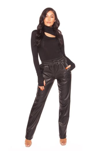 Leather Wide Leg Pants Black