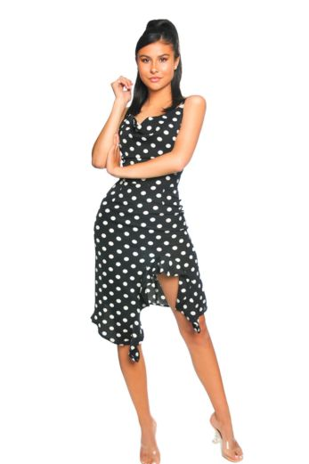 LA Sisters Polkadot Draped Dress Front