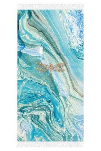 Aqua Licious Marble Dragonfly Beachtowel