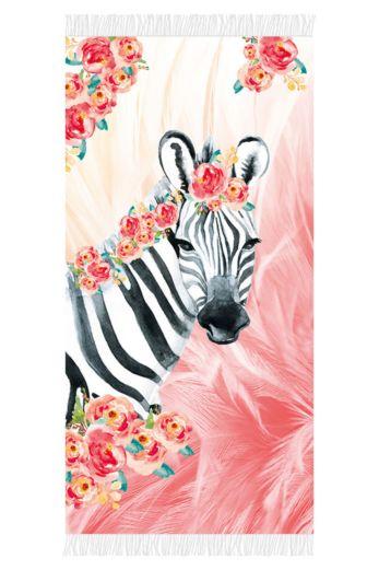Aqua Licious Zebra Boho Beachtowel