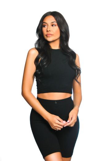 Ribbed Cycling Two Piece Black
