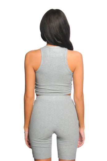 Ribbed Cycling Two Piece Grey
