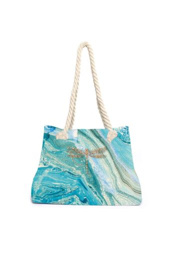 Aqua Licious Marble Dragonfly Beach Bag