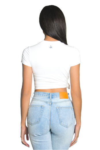 Side Knot Crop Top White
