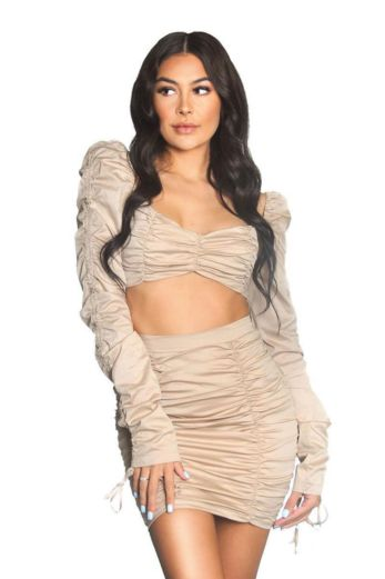 LA Sisters Ruched Two Piece Nude Front