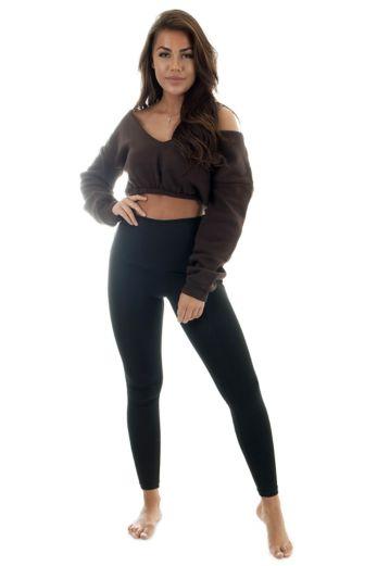Yasmine Cropped Sweatshirt Brown