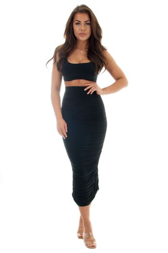 Eve Dilalah Ruffle Two Piece Black Front