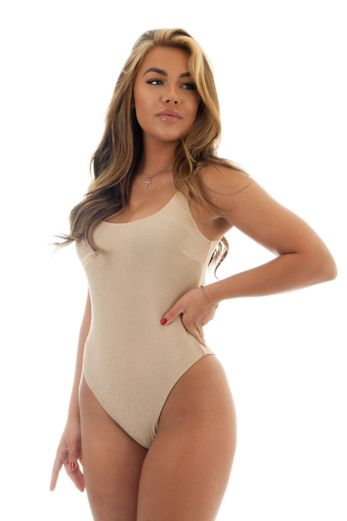 Paris One Piece Swimsuit Beige Gold