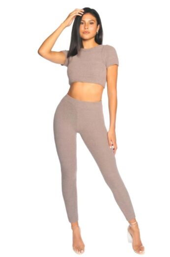 LA Sisters Fluffy Sporty Two Piece Ash Brown Front