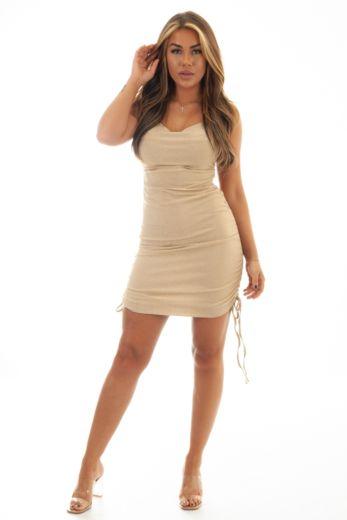 Kylie Dress Light Beige Gold