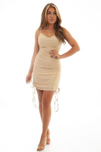 Unique the Label Kylie Dress Beige Gold Close
