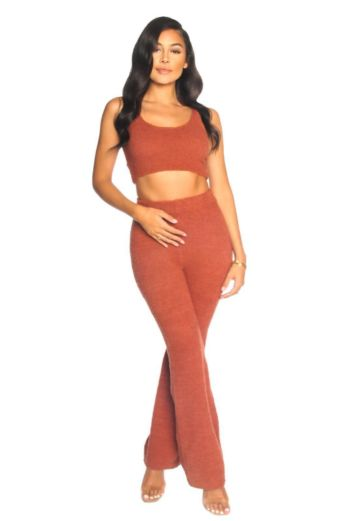 LA Sisters Fluffy Wide Leg Two Piece Clay Front