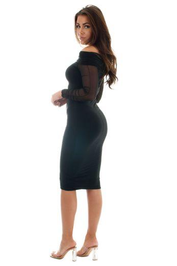 Sabrine Off-Shoulder Mesh Dress Black