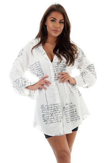 Yaelin Bustier Blouse Dress Writing White