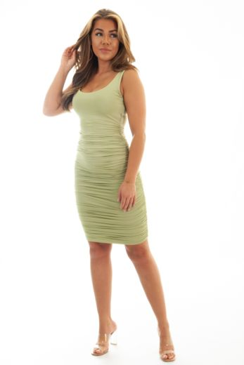 Unique the Label Lily Ruched Dress Sage Green Side