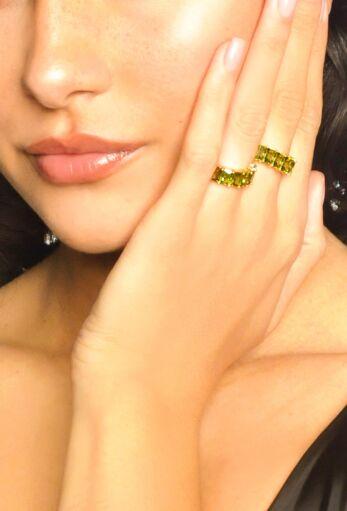 Baguette Eternity Ring Gold Green