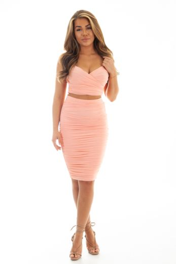 Unique the Label Molly Mesh Two Piece Pink Front