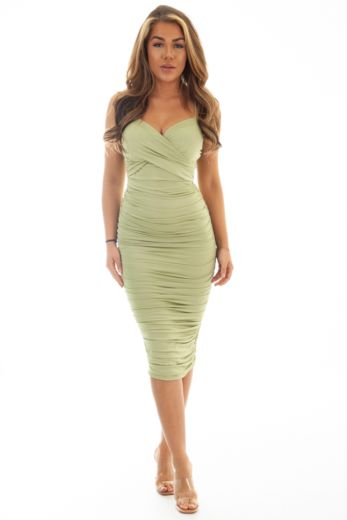 Unique the Label Khloe Ruched Dress Sage Green Front