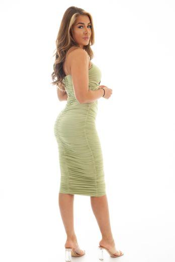 Khloe Ruched Dress Sage Green