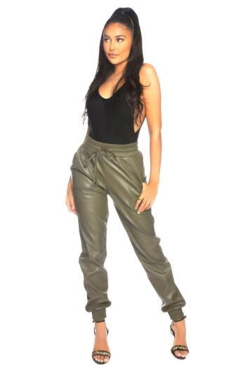 Faux Leather Jogging Pants Army