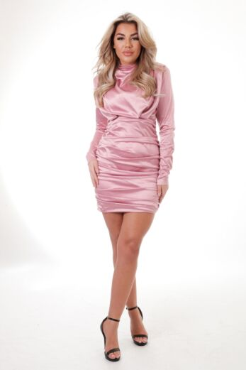 Unique the Label Holly High Neck Dress Satin Blush Front