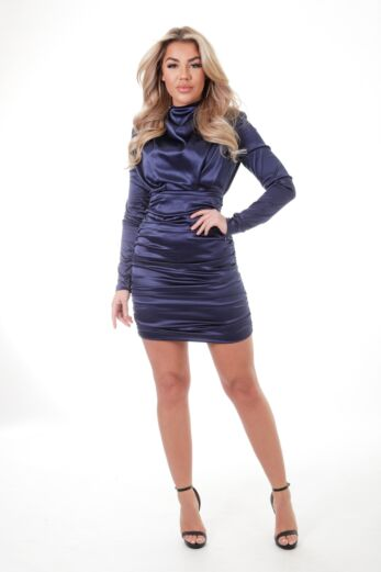 Unique the Label Holly High Neck Dress Satin Navy Front