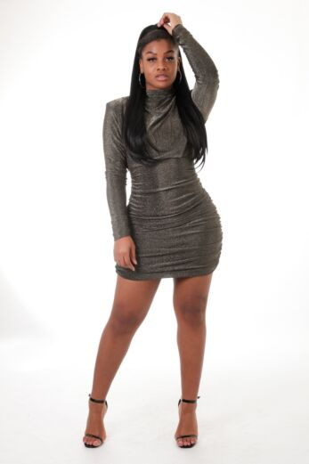 Unique the Label Holly High Neck Dress Lurex Black/Gold