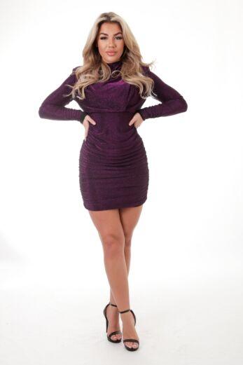 Unique the Label Holly High Neck Dress Lurex Purple Front