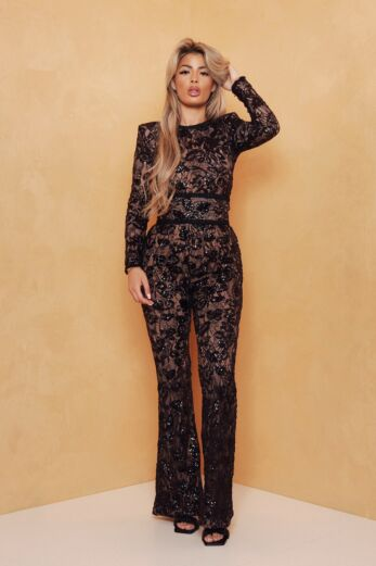 Unique the Label Avery Lace Jumpsuit Black Front