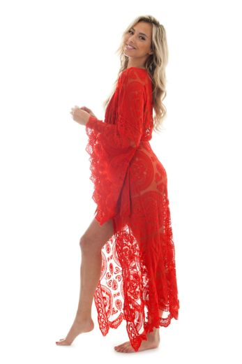 Luxury Lace Kimono Red