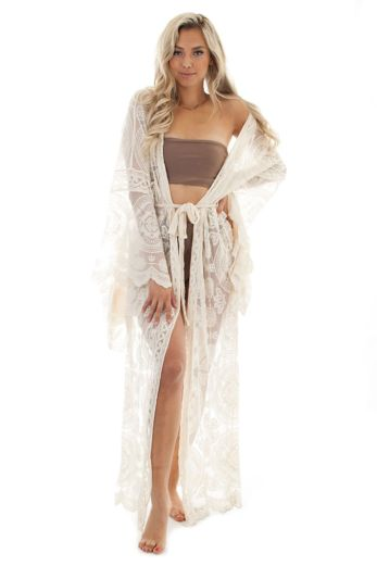 Luxury Lace Kimono Creme