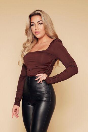 Lynn Ruched Bodysuit Chocolate