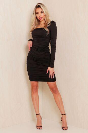 Unique the Label Lynn Ruched Dress Black Front