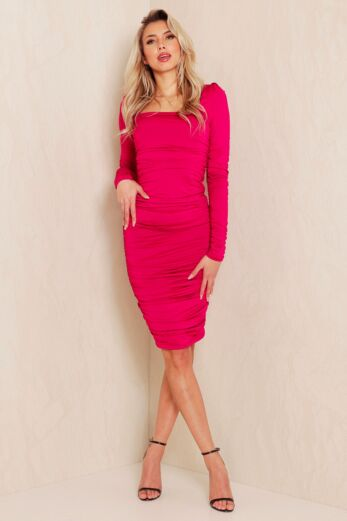 Unique the Label Lynn Ruched Dress Magenta Front