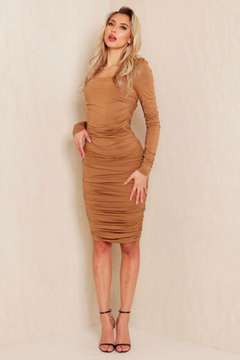 Unique the Label Lynn Ruched Dress Olive Front