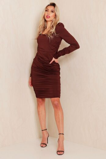 Unique the Label Lynn Ruched Dress Chocolate Front