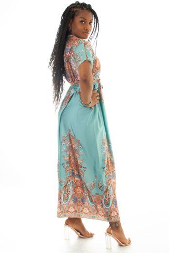 Eve Nice Satin Wrap Dress Turqoise Back
