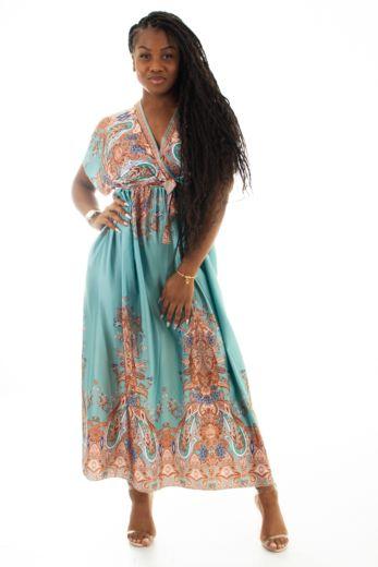 Nice Satin Wrap Dress Turquoise