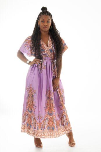 Eve Nice Satin Wrap Dress Lila